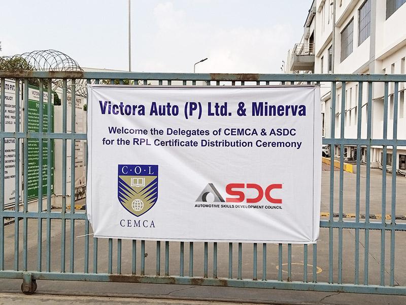 CEMCA certificate ceremony-Victora Auto Pvt. Ltd. (IMT Faridabad)