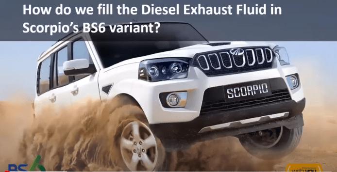 Diesel Exhaust Fluid (DEF) Filling in Scorpio BS6 variant